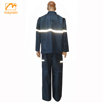 outdoor polyester adult rainsuit with detachable hood