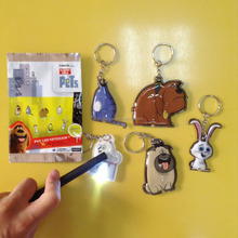 Cheapest promotional gifts led key chains , wholesales PVC soft LED keychain, mini projection led keychain light