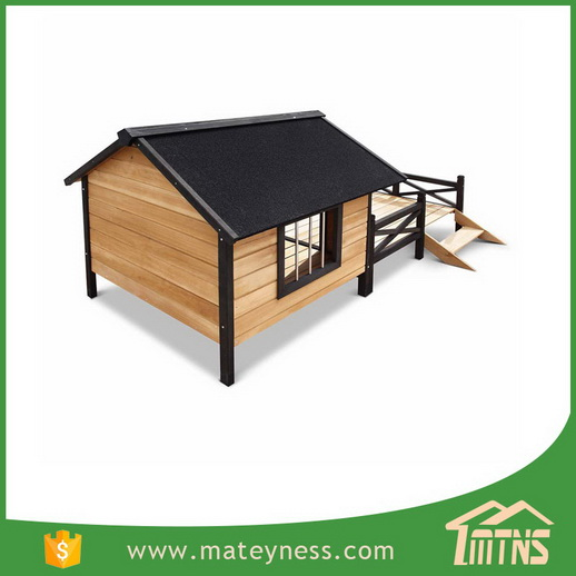 Large Pet Wooden Dog House With Patio Wooden Timber Bed Porch Deck