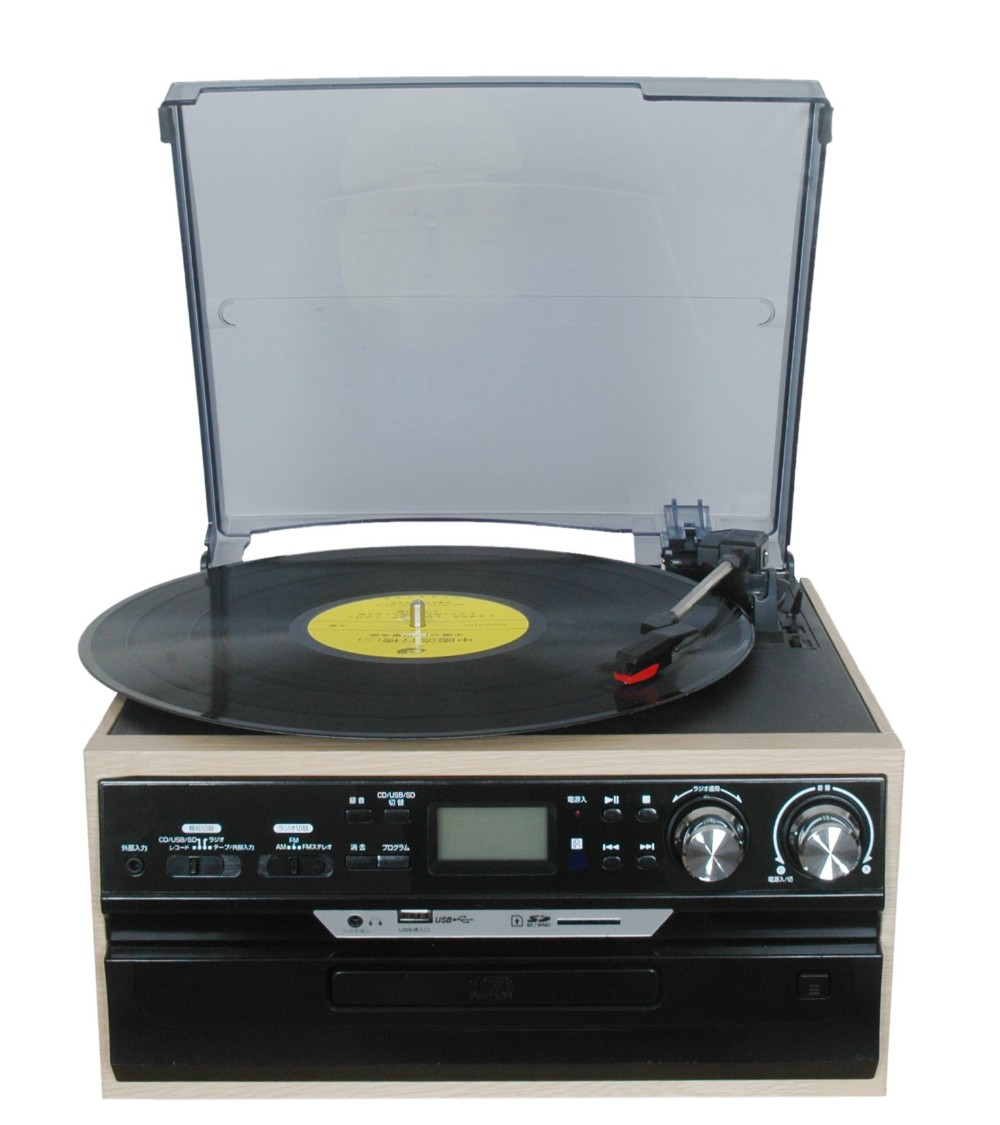 high quality plastic music turntable box retro radio cassette cd player