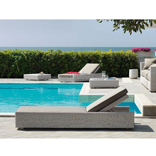 Swimming pool use side table and sun lounge chair furniture outdoor rattan chinese day bed