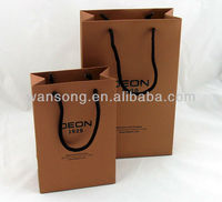 Various custom logo promotional shopping kraft paper bag with Nylon rope handle