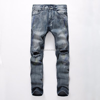 Famous vintage distressed dot paint print ripped acid washed jeans for men