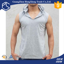Retail comfortable summer simple design sleeveless blank hooded t-shirts