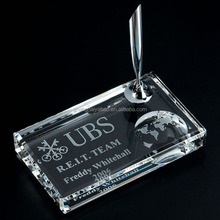 Crystal Fancy Engraved Pen Holder For Bank Office