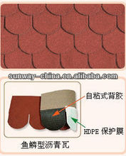 Fish-scale asphalt shingle (Spanish Red)