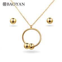 BAOYAN 316L Stainless Steel Jewelry Gold Plated Cheap Circle Necklace Earring Jewelry Sets for Girls