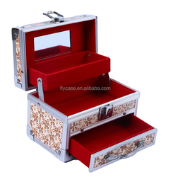 Beauty rolling makeup case with mirror/makeup vanity case/professional cosmetic box