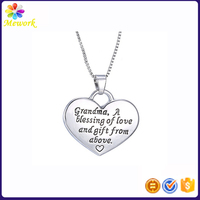 I love you grandma heart pendant letter engraved god blessing you love necklace