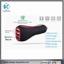 3 ports car charger QC3.0 30W usb qc3.0 quick charger car charger MP3