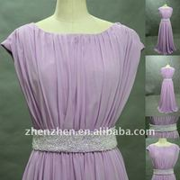 Elegant Design ED-527 Chiffon Evening Gown with Beads Pleats Jewel Neck Cap Sleeves Hot Sale Prom Dress in Zhenzhen