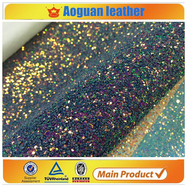 2017 summer season wholesale price PU <strong>leather</strong> with grade 3 chunky glitter fabric fabric