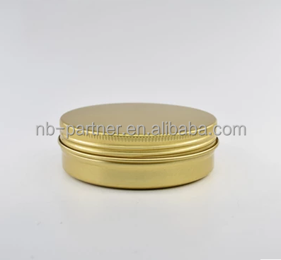 2017 Wholesale screw thread 100ml round aluminum jar cosmetic container customized color black gold white