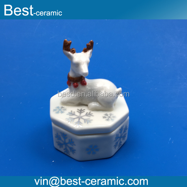 Wholesale polygon fawn shape lid snowflake decals ceramic jewellery ring box