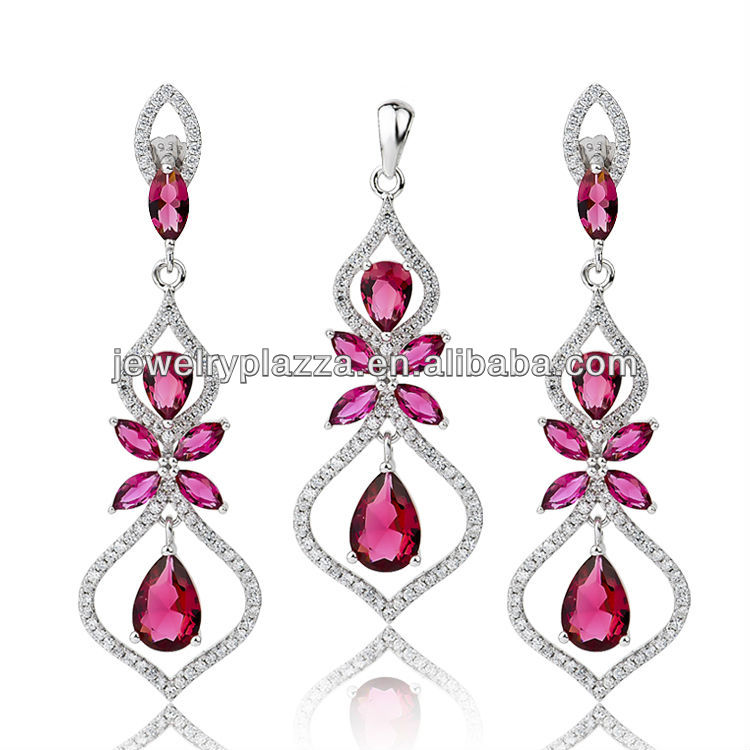 Gold Plated Ruby Necklace Set,Wholesale Silver 925 Jewellry