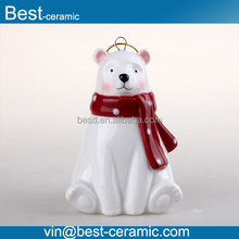Hand-painted Polar bear ceramic hang outdoor Christmas decorations