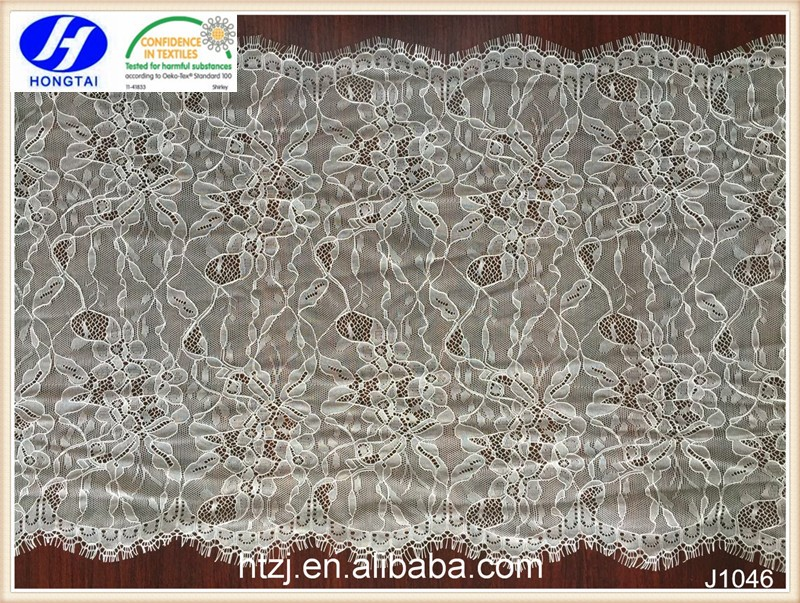 hongtai white eyelash african chemical lace fabric for wedding dresses