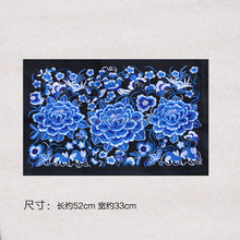 Blue and white flowers patterns Embroidery Ethnic cotton fabrics for bags