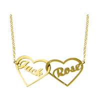 Double Linked Heart Monogram Name Jewelry