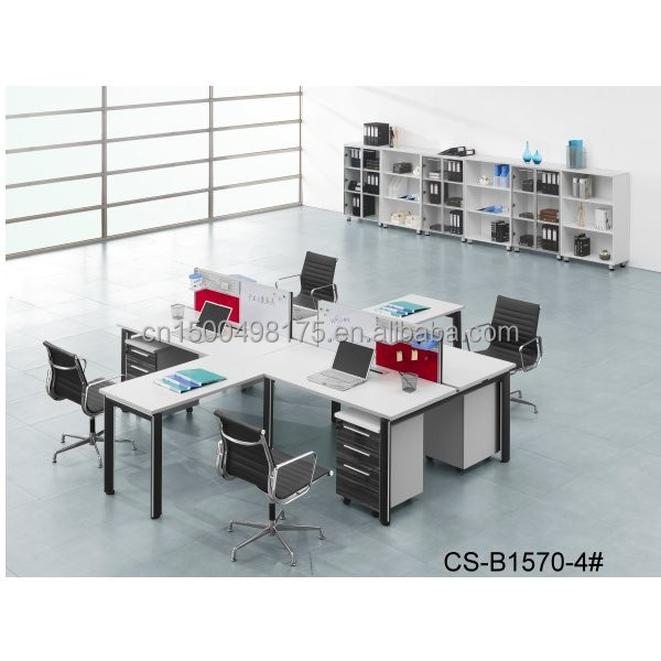 Workstation for 4 Persons steel legs wooden desk top modern office desk