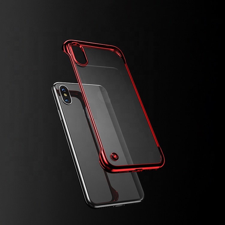 OEM Brand Name Frameless Bright Transparent Half Cover Protect Slim Plating PC Android Phone Case for Realme X 3 Pro C2 C1 2 <strong>1</strong>