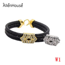 2017 newest design luxury triple wraps black stingray leather bracelets wristbands with gold plated charms for men and women