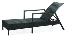 black rattan aluminum frame 2 years warranty outdoor furniture pool side armrest chaise lounge beach sun lounger
