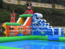 2016 new design interest gaint inflatable water slide with pool for adult
