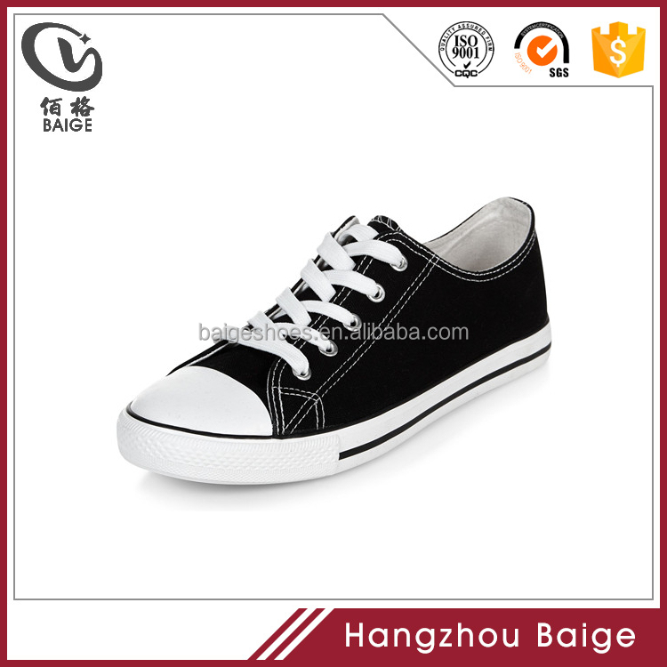 2017 Low neck lace up vulcanized rubber flat sole black canvas skateboard women sneaker shoes and sports