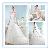 Lace Mermaid Gown Matching Detachable Train and A 3 Quarter Length Sleeve Jacket Wedding Dresses with Long Train (WD-HAITZZE)