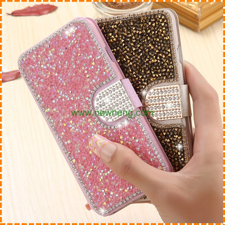 Luxury Crystal Rhinestone Diamond Flip Wallet Leather Phone Case Cover For iPhone 7