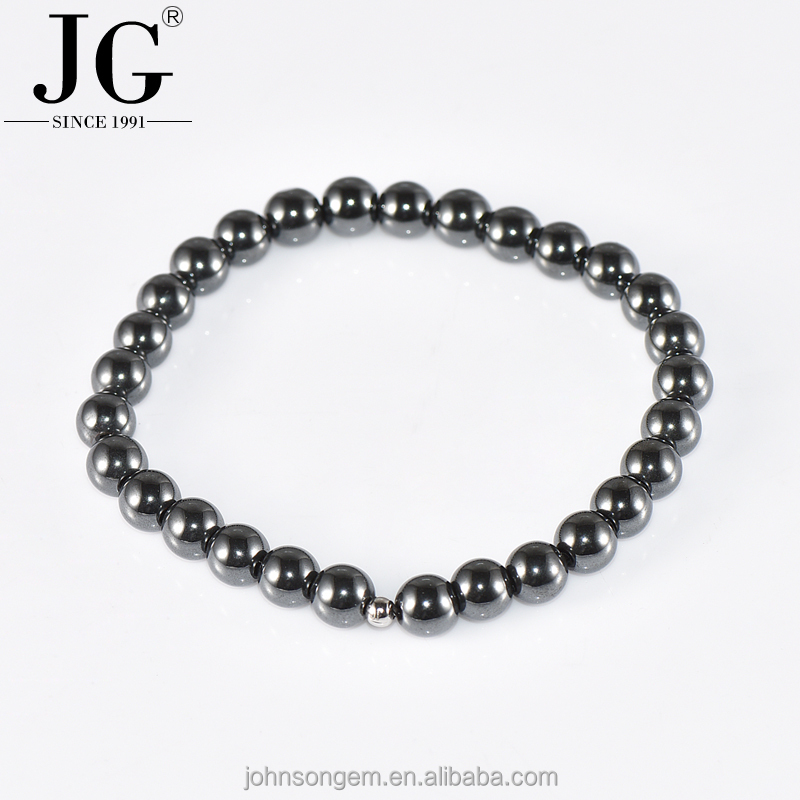 Free Shipping 6mm Natural Magnetic Hematite Stone Beads Balls Bracelet Memory Wire Bracelets Jewelry Wholesale