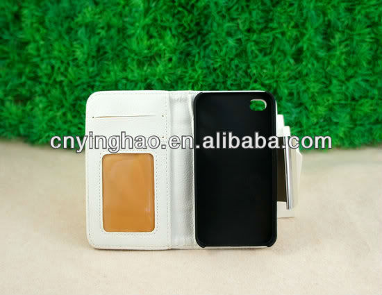 leather flip Card Slot Cover Case Wallet For iPhone 4 4G