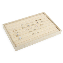 Linen wooden jewelry ring tray display