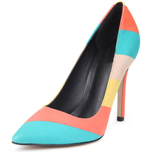 2017 New Arrival Colorful Girls Prom Shoes Fancy Rainbow Pointed Toe High Heel Fetish Pumps Women's Dress Shoes
