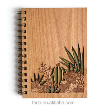 Laser cut wood hardcover cover notebook