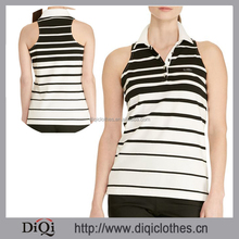 Embroidered Sporty Polo Collar Breathable Stretch Cotton Jersey Striped Sleeveless Polo Shirt