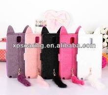 fur credit card leather case pouch for Galaxy Note 3 N9000