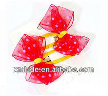 beautiful red organza ribbon and white dot printed ribbon bowknot hair decoration with alligator clip