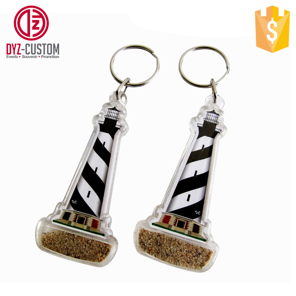 Tower Shaped Acrylic Keychain with Sand Plastic clear acrylic key chain with sands inside