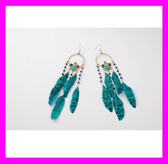 China factory supply fashionable lady magnetic dangle earrings feather earrings wholesale HD5573
