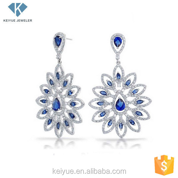 Fashion fancy flower cubic zirconia drop earrings 925 silver ear rings for women