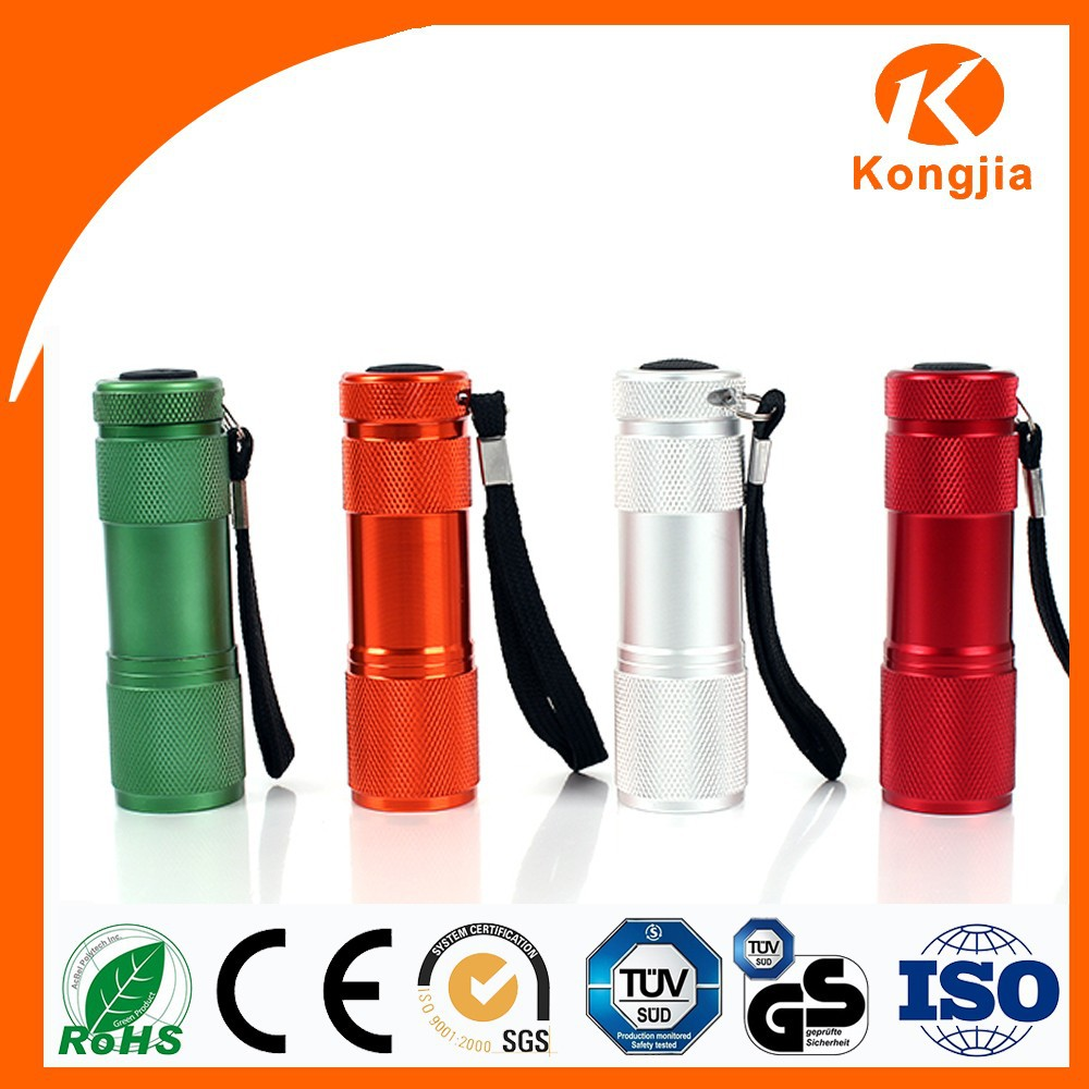 Hot Promotional Gift Mini Cheap Aluminum Flash Light 9 LED Torch