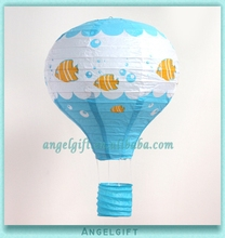 Baby Shower Favors Blue Background Fish Swimming Hot Air Balloon Paper Lantern