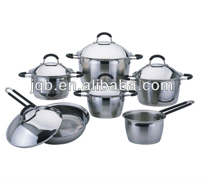 11Pcs stainless steel cook ware&cooking pot with silicon handle