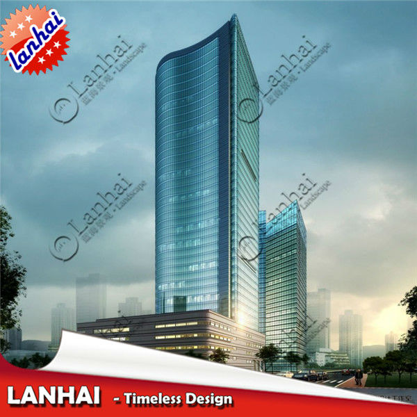 High Rise Building 3D Rendering Drawing