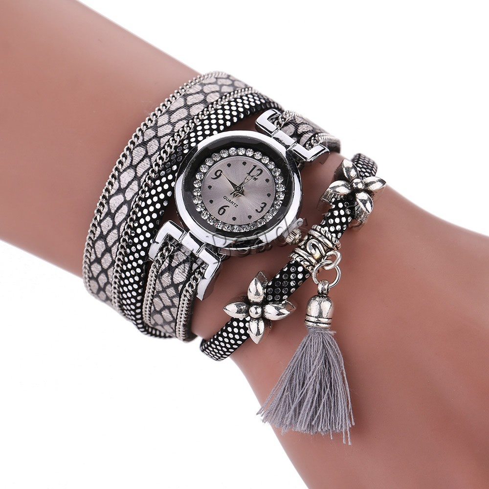 Four color adjustable Wrap Watch, PU, with rhinestone & 2-strand on sale