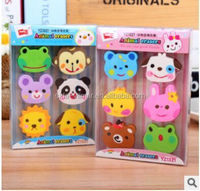 6 pcs very cute animal shape eraser for kids