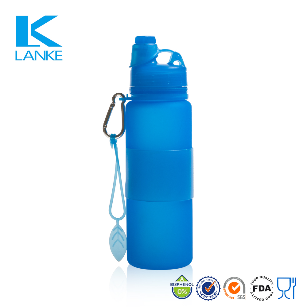 FDA Certification Free Sample Silicone Sports Foldable Water Bottle Joyshaker