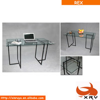 Cheap good quality transparent tempered glass desk with powder coating metal frame